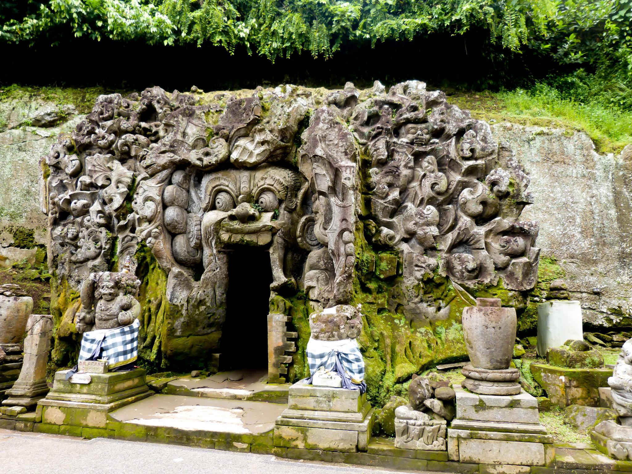 Bali 2 week itinerary includes temples like Goa Gajah