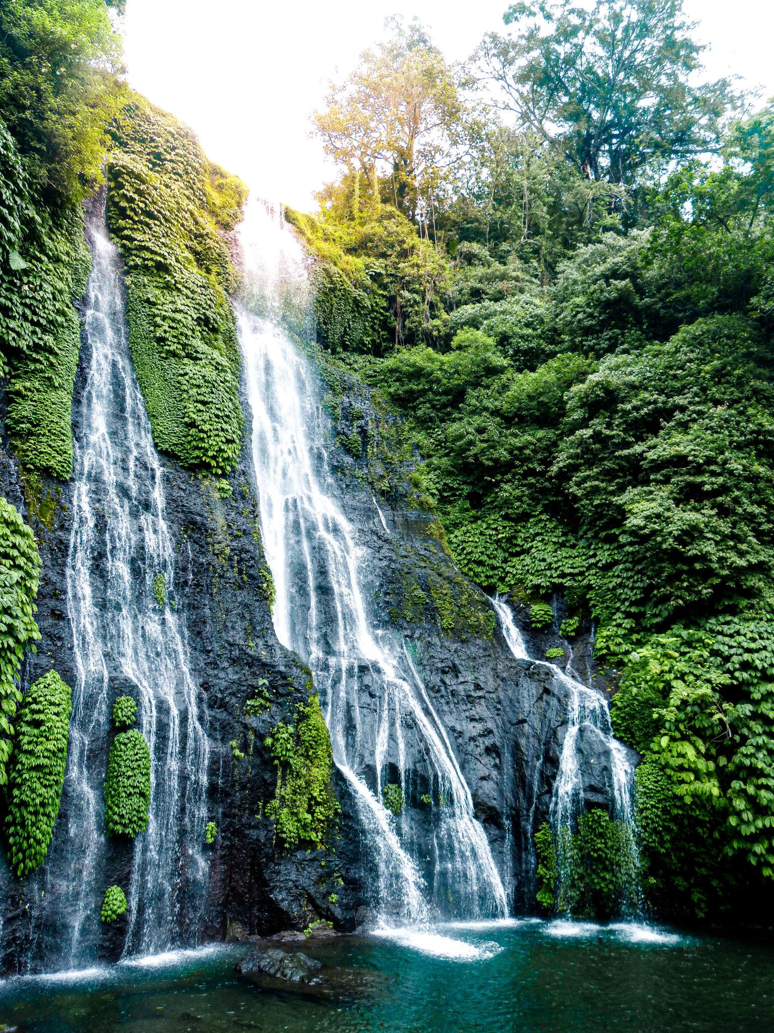Bali travel route Banyumala twin falls, perfect waterfall