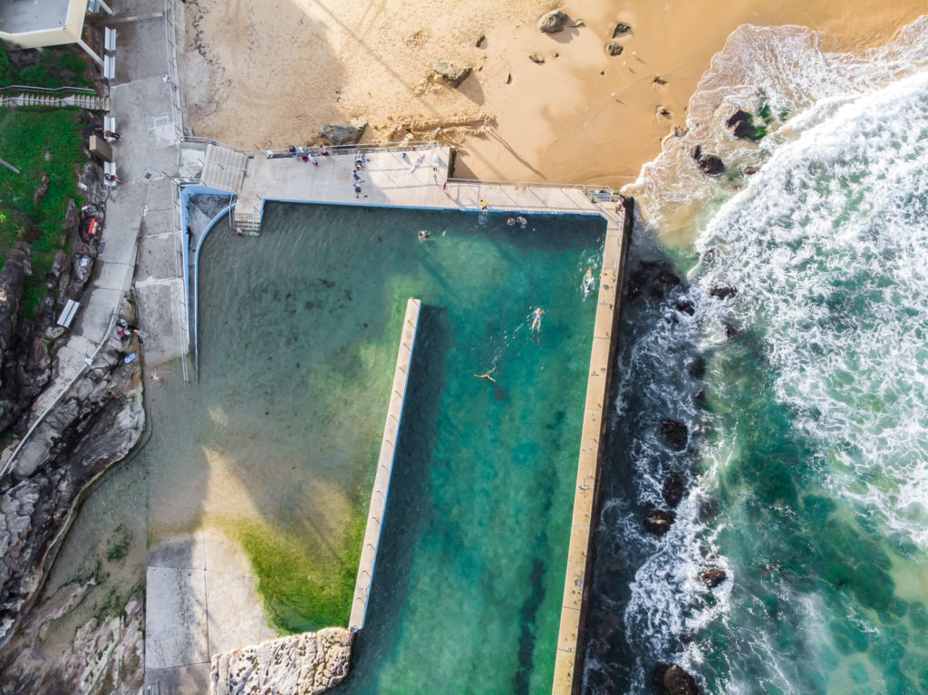 south curl curl: rockpools in Sydney drone
