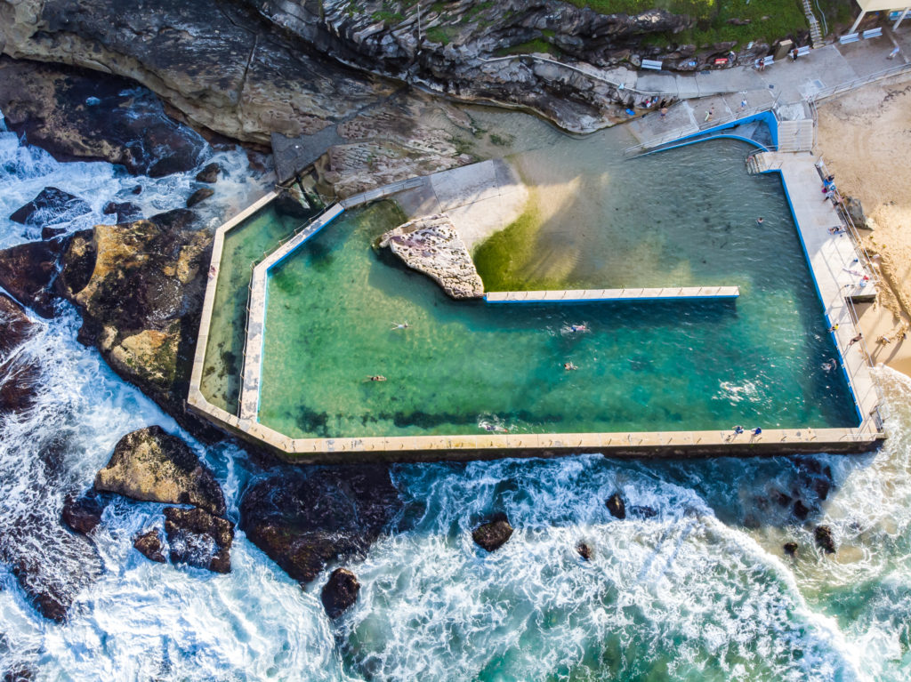 South Curl Curl: the best rockpools in Sydney aerial view