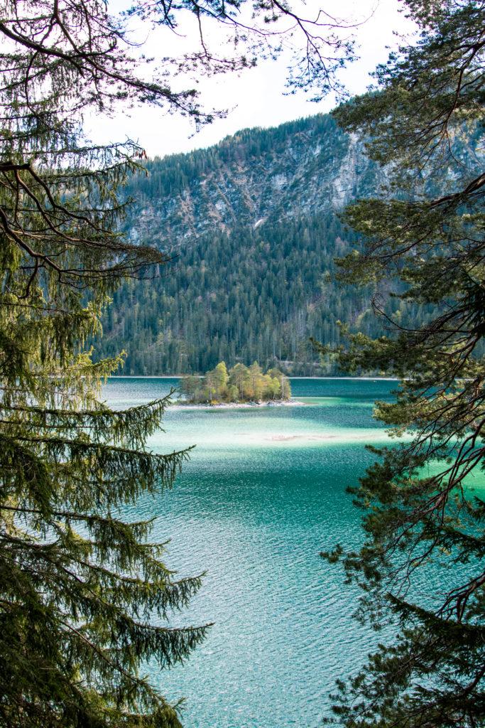 hiking at lake eibsee bavaria