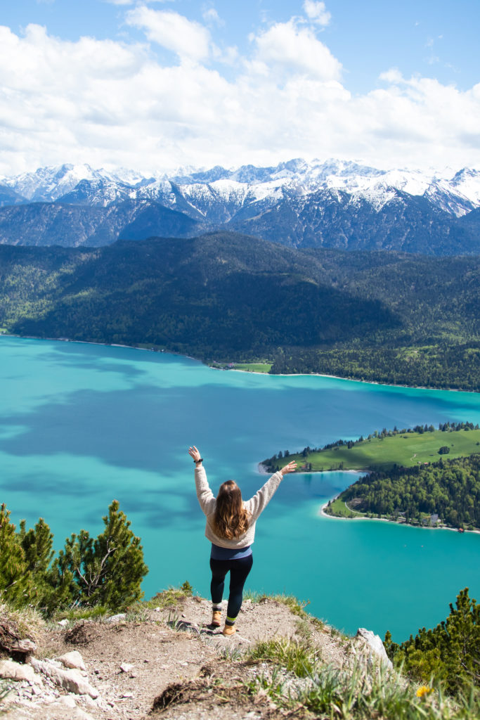 Herzogstand with panoramic view of Lake Walchensee