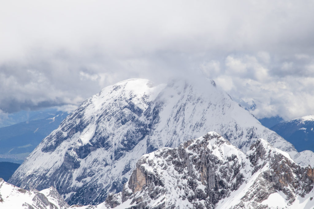 Zugspitze covered in clouds