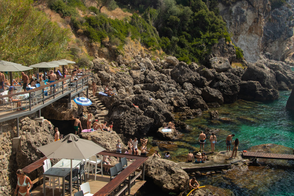 the best things to do in Corfu: La Grotta beach Bar