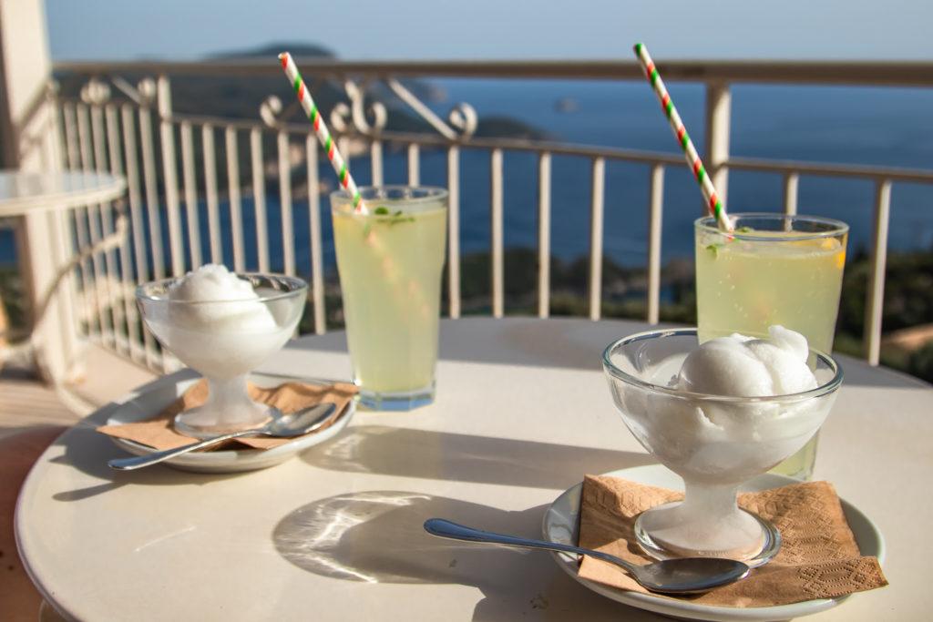 Corfu Greece Travel Guide: drinks and ice cream in lakones