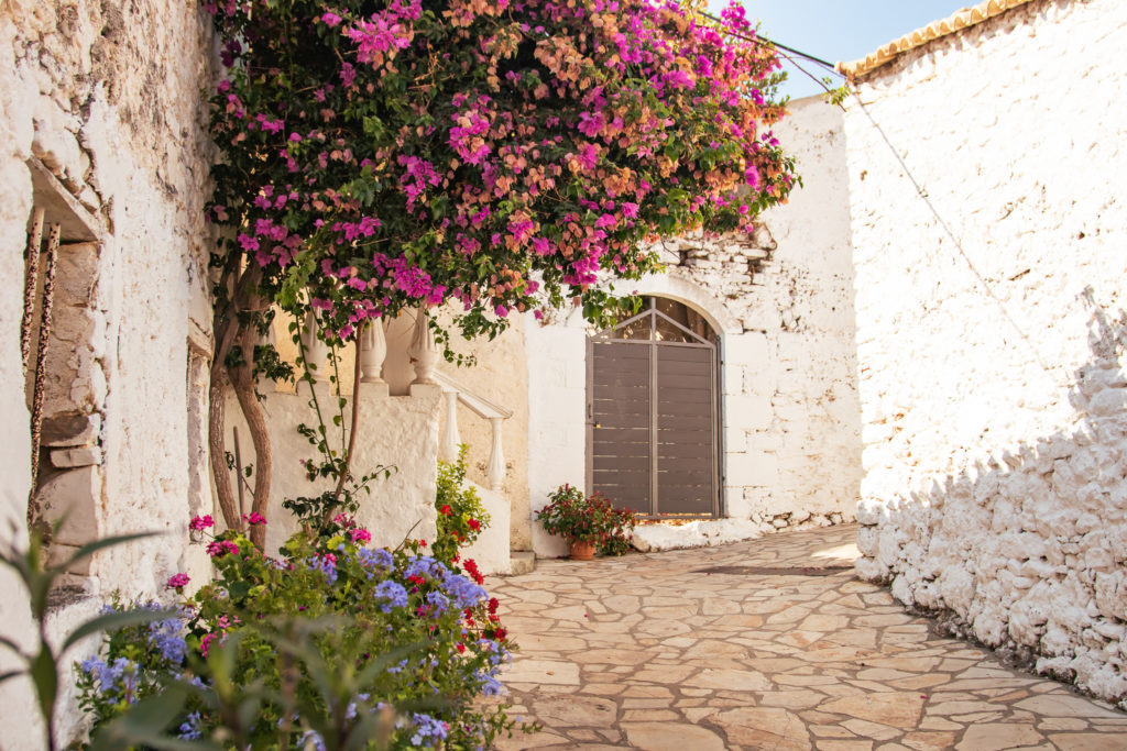 Corfu Greece Travel Guide: flowers in the streets of Afionas